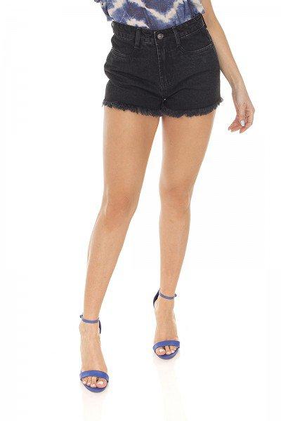 dz6408 shorts jeans feminino setentinha preto denim zero frente prox 2
