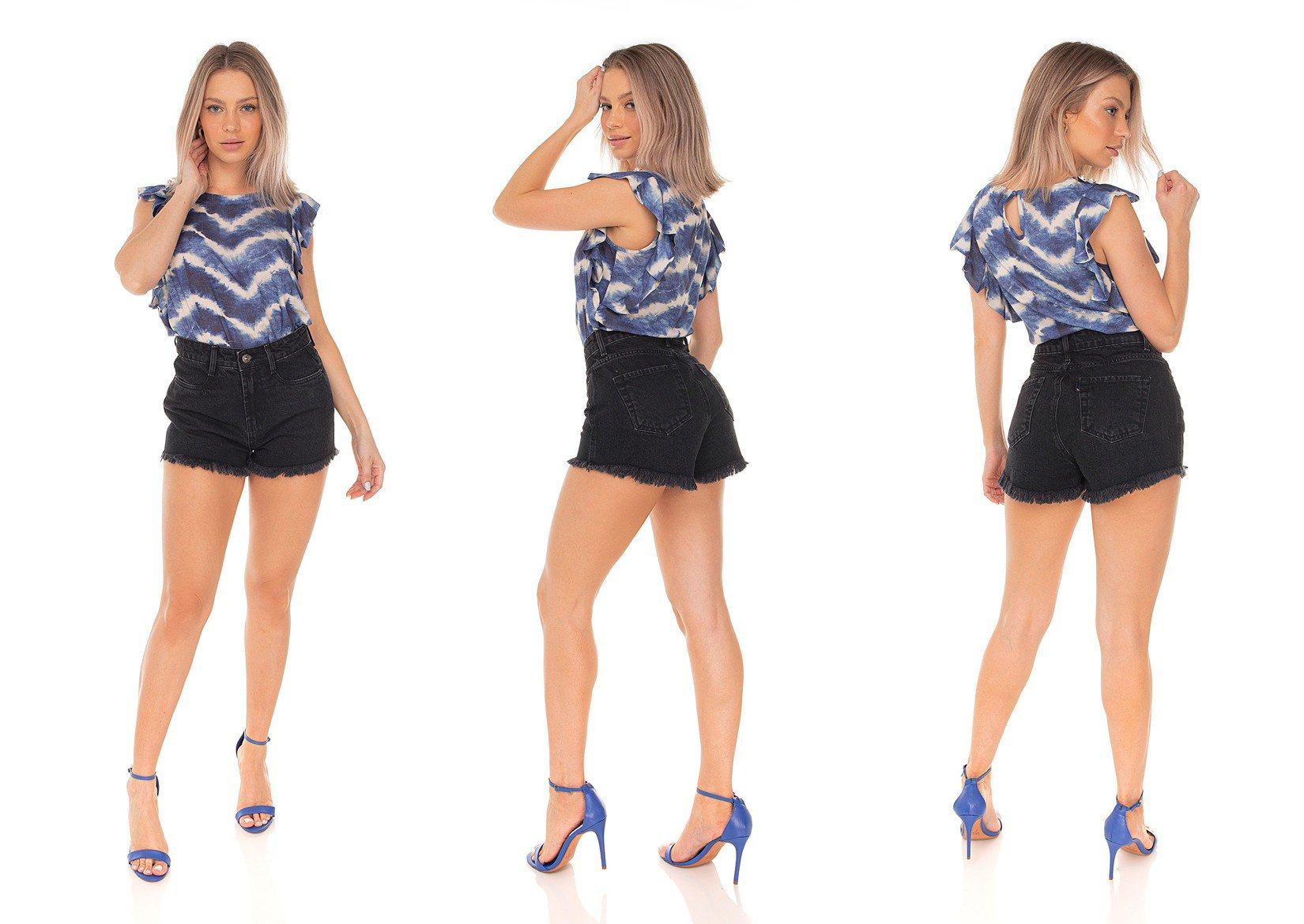 dz6408 shorts jeans feminino setentinha preto denim zero tripla