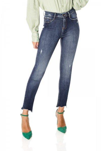 dz3596 re calca jeans feminina skinny media cigarrete barra irregular denim zero frente prox