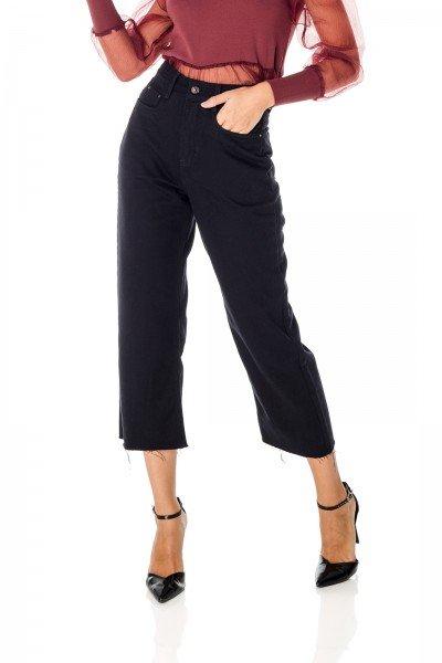 dz3711 alg calca jeans feminina wide leg preta denim zero frente prox