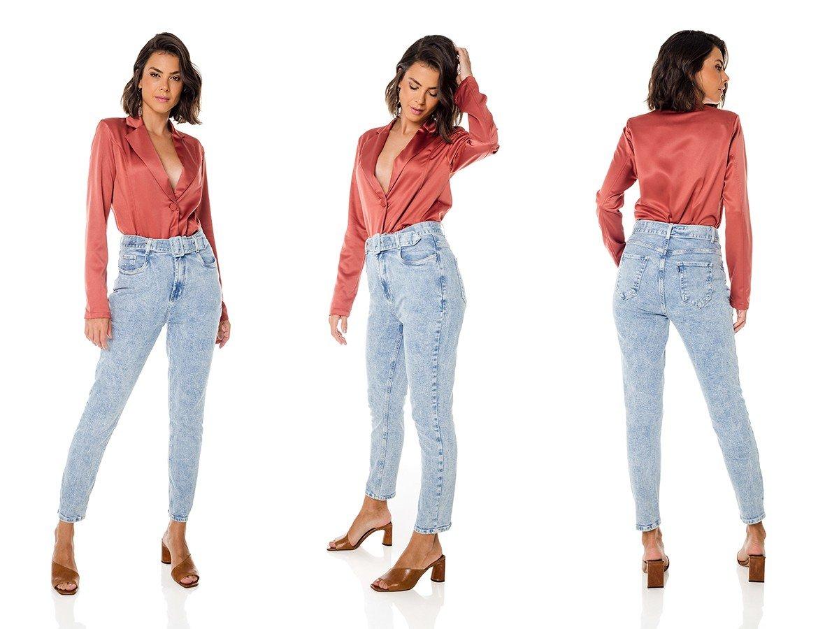 dz3685 com calca jeans feminina mom fit com cinto denim zero trio