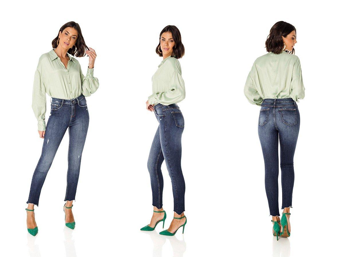 dz3596 re calca jeans feminina skinny media cigarrete barra irregular denim zero trio