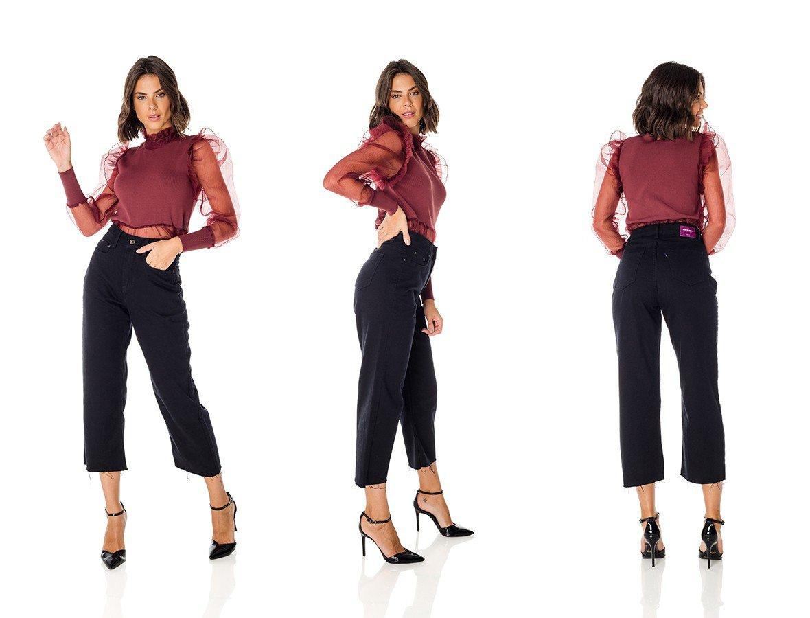 dz3711 alg calca jeans feminina wide leg preta denim zero trio