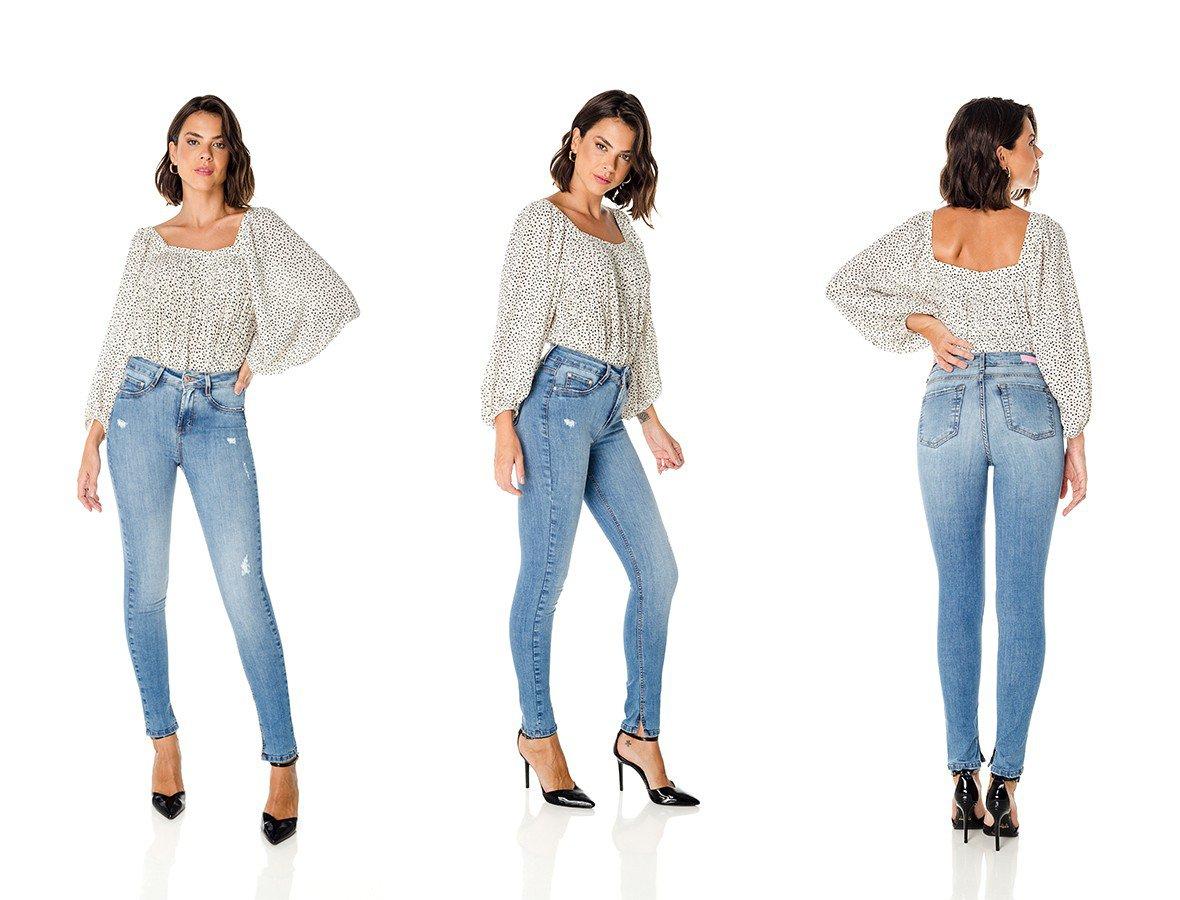 dz3665 re calca jeans feminina skinny media cigarrete com puido denim zero trio