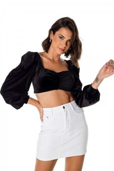 dz7200 re saia jeans feminina tubinho black and white branca denim zero frente prox 03