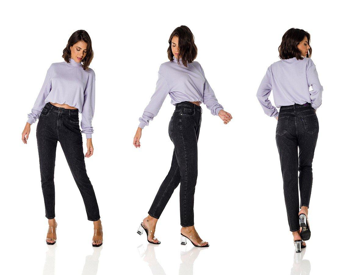 dz3689 com calca jeans feminina mom fit escura denim zero trio
