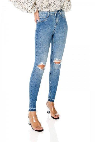 dz3598 com calca jeans feminina skinny media com rasgos no joelho denim zero frente prox