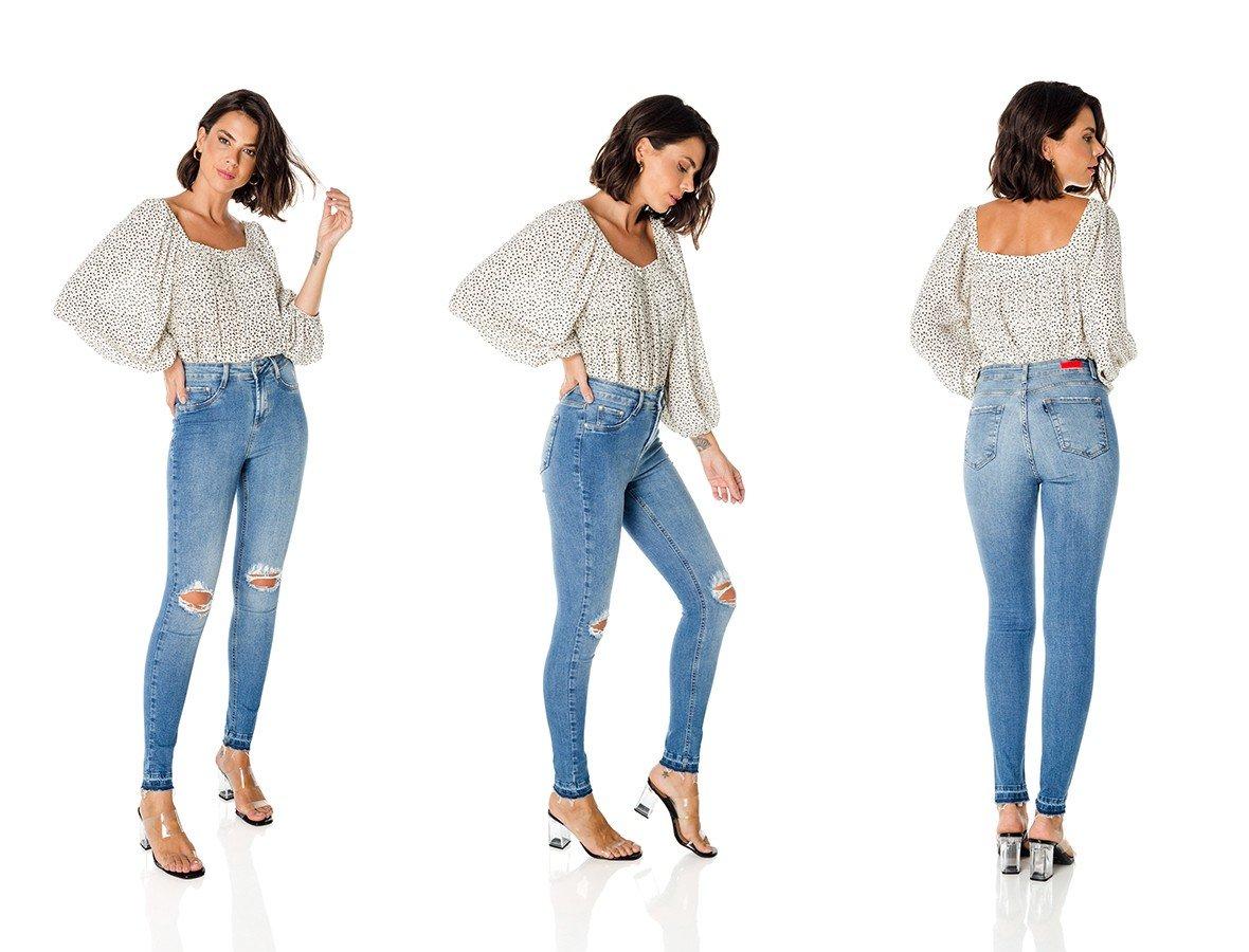dz3598 com calca jeans feminina skinny media com rasgos no joelho denim zero trio