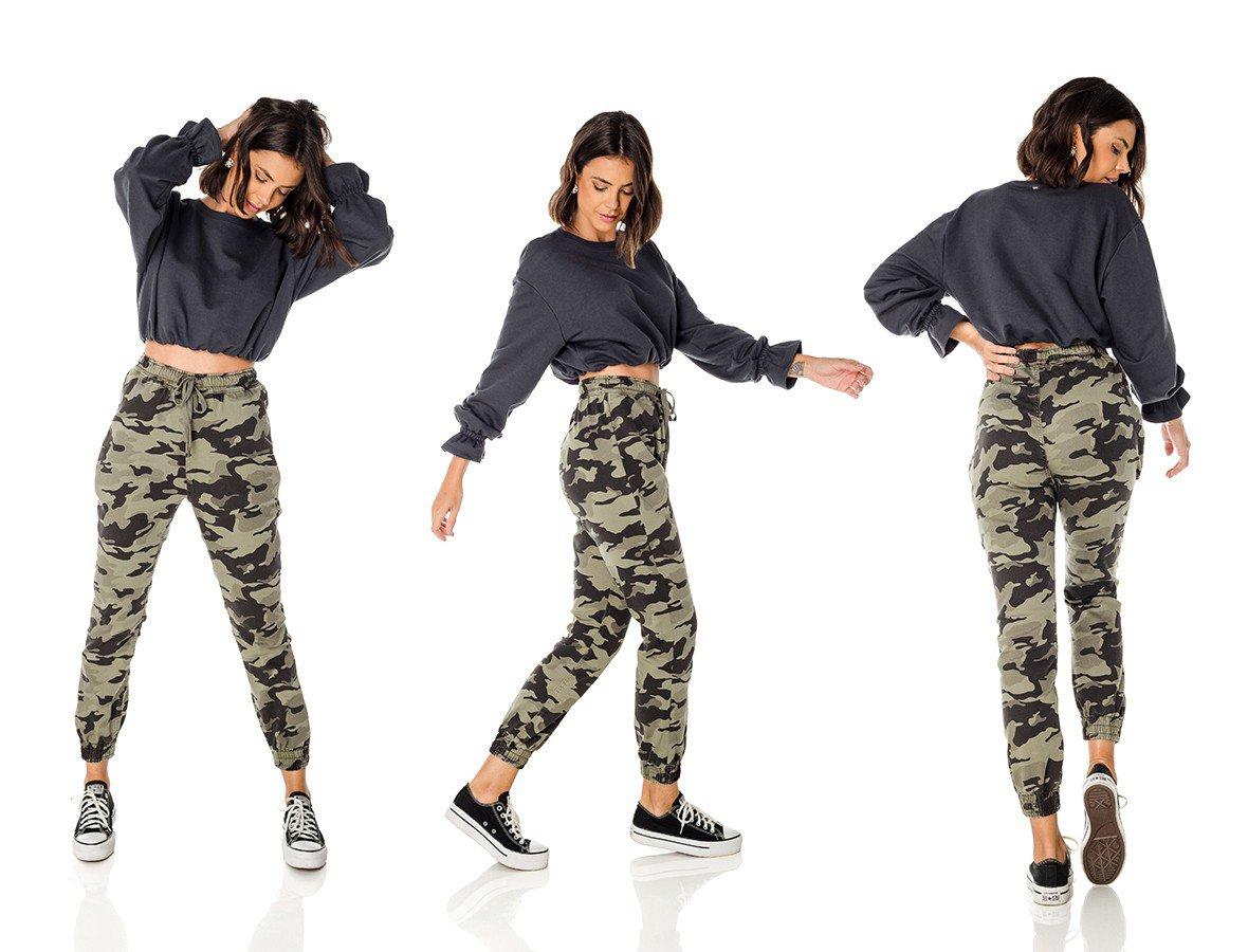 dz3712 com calca jeans feminina jogger camuflada denim zero trio