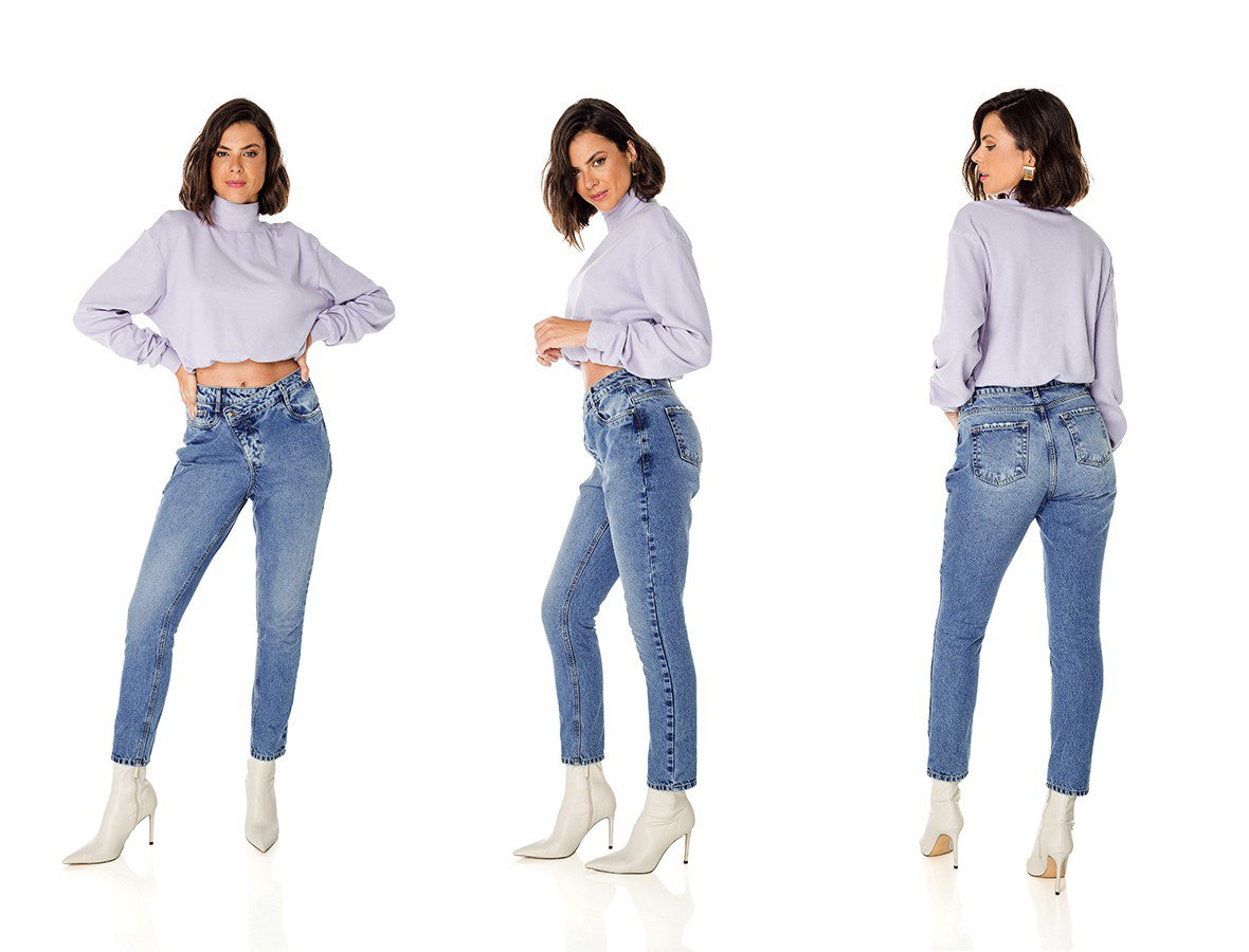 dz3690 alg calca jeans feminina dad pants gancho assimetrico denim zero trio