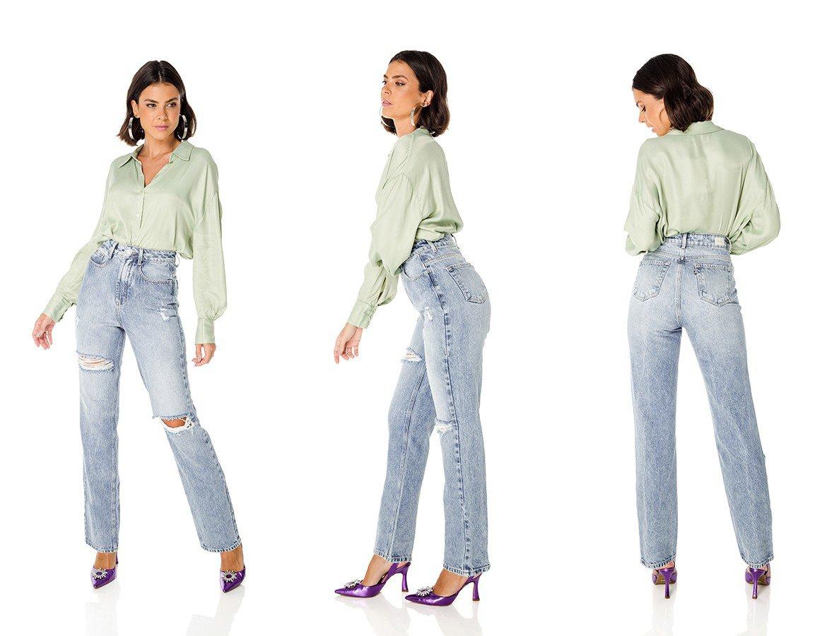 dz3691 alg calca jeans feminina dad pants com rasgos denim zero trio