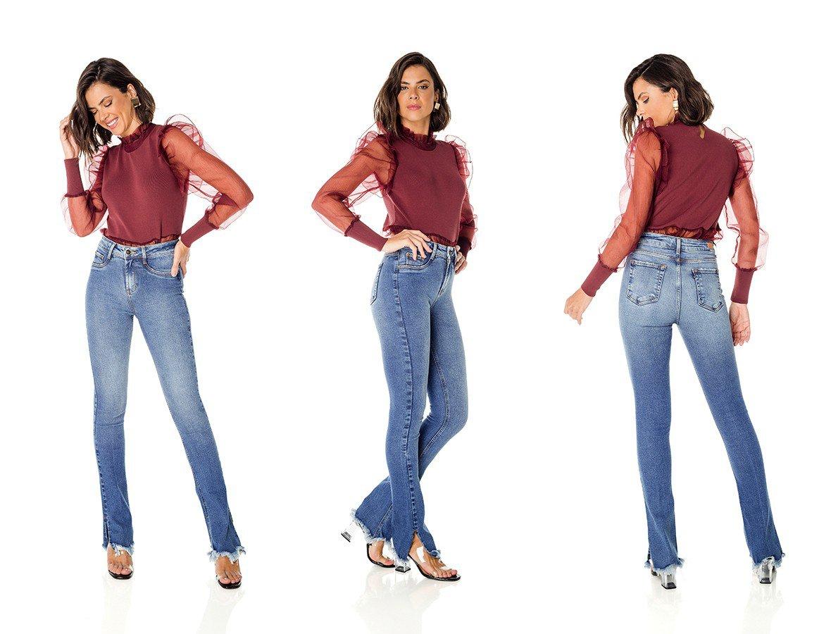 dz3694 re calca jeans feminina new boot cut barra irregular denim zero trio