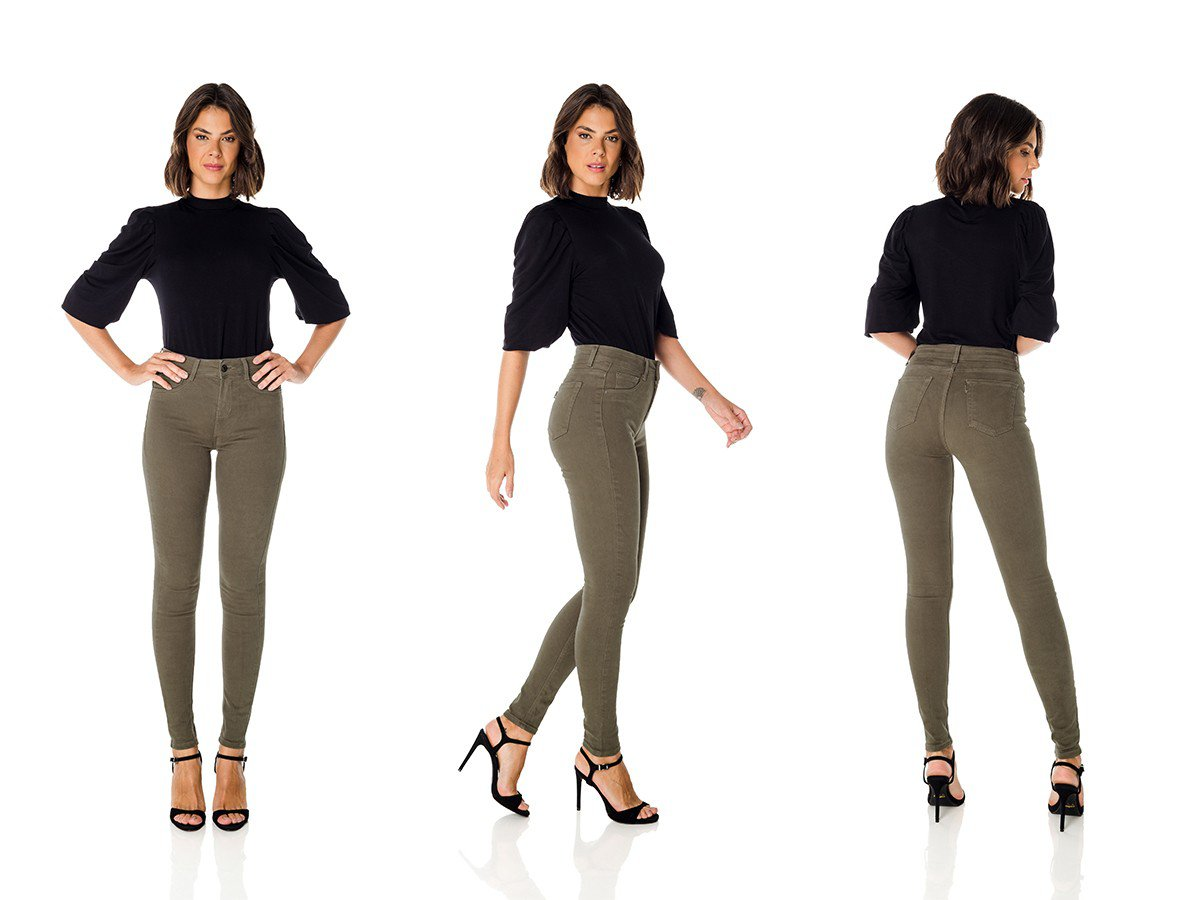 dz3626 re calca jeans feminina skinny media colorida militar denim zero trio