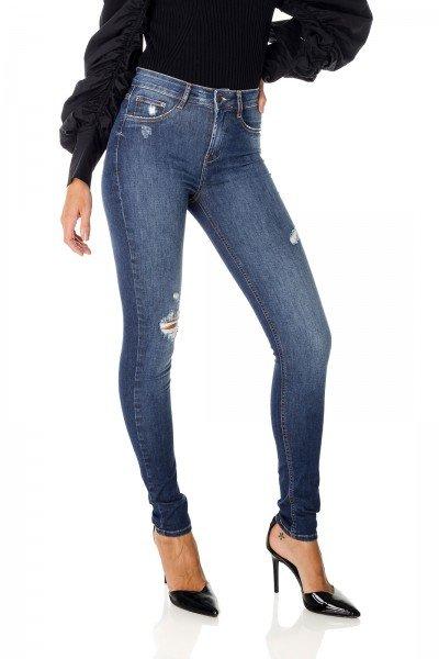 dz3663 re calca jeans feminina skinny media com puidos denim zero frente prox