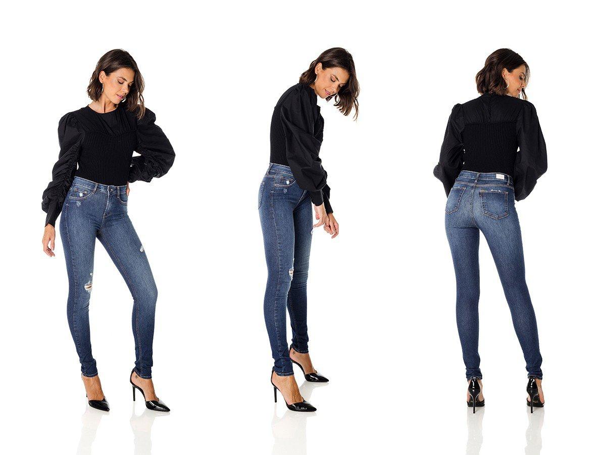 dz3663 re calca jeans feminina skinny media com puidos denim zero trio
