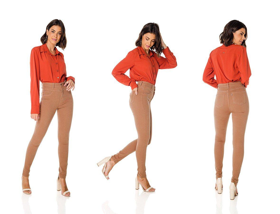 dz3675 re calca jeans feminina skinny hot pants tradicional colorida marrom pardo denim zero trio