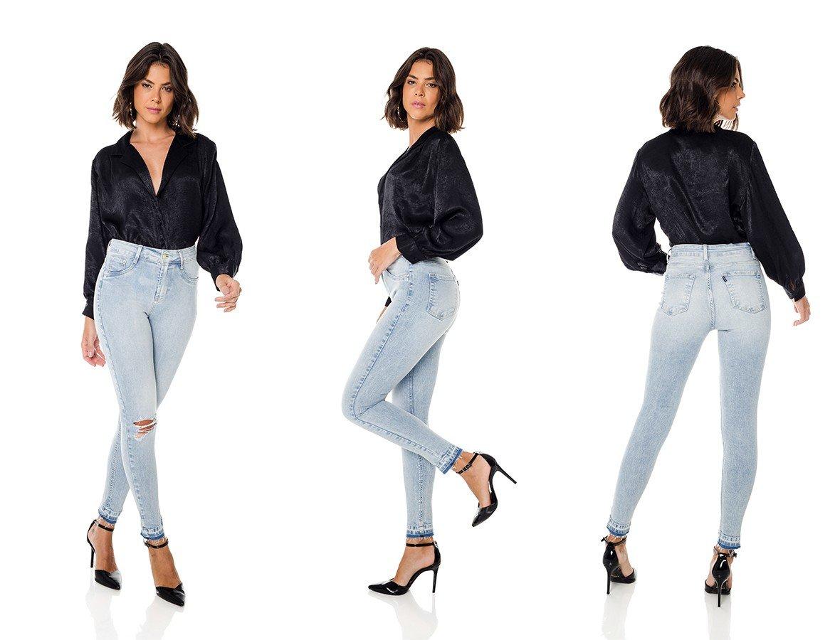 dz3678 com calca jeans feminina skinny media cigarrete com rasgos denim zero trio
