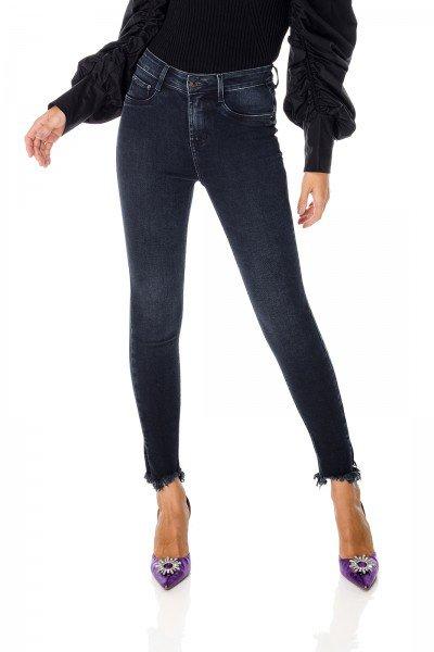 dz3680 com calca jeans feminina skinny media cigarrete com fenda e barra irregular denim zero frente prox