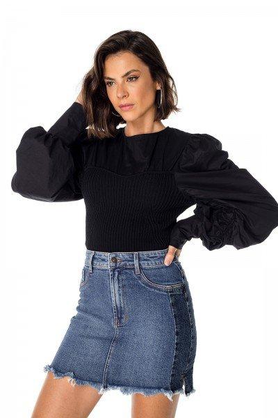 dz7198 com saia jeans feminina tubinho com recorte lateral denim zero frente prox 02