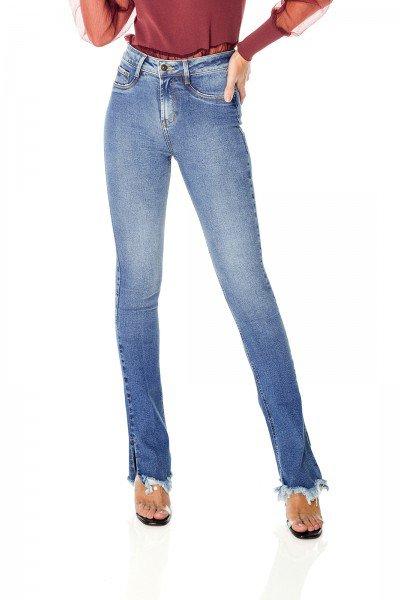 dz3694 re calca jeans feminina new boot cut barra irregular denim zero frente prox