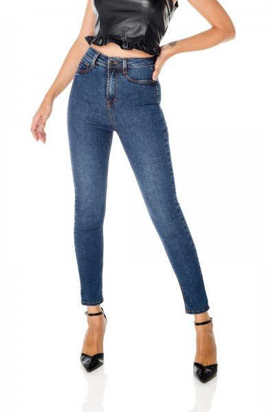 dz3683 re calca jeans feminina skinny hot pants cigarrete escura denim zero frente prox
