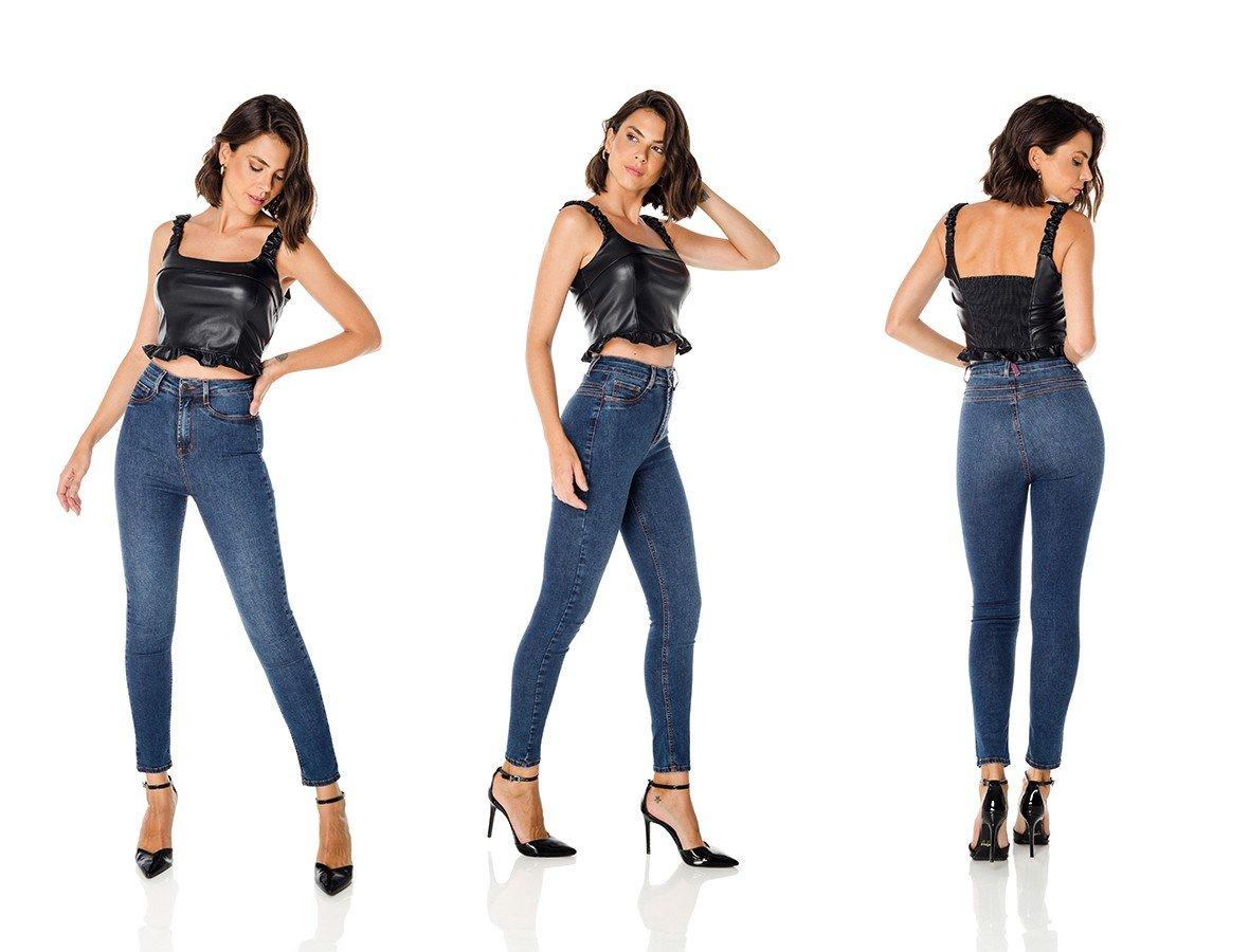 dz3683 re calca jeans feminina skinny hot pants cigarrete escura denim zero trio