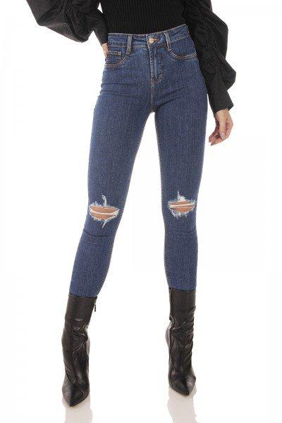 dz3726 com calca jeans feminina skinny media cigarrete rasgos joelho denim zero frente prox