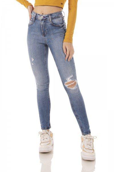 dz3727 com calca jeans feminina skinny media cigarrete rasgo joelho denim zero frente prox