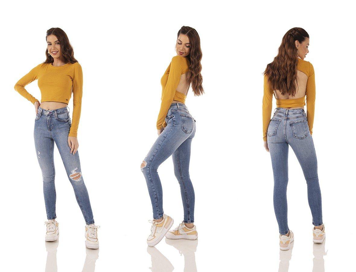 dz3727 com calca jeans feminina skinny media cigarrete rasgo joelho denim zero tripla