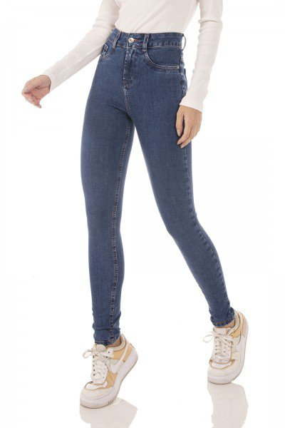 dz3751 ts calca jeans feminina skinny media cigarrete escura denim zero frente prox