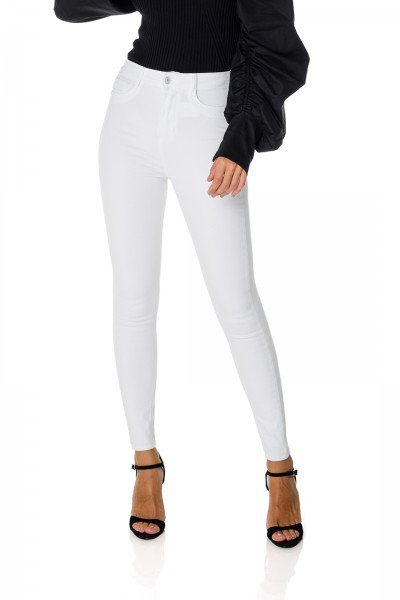 dz3714 re calca jeans feminina skinny hot pants black and white branca denim zero frente prox