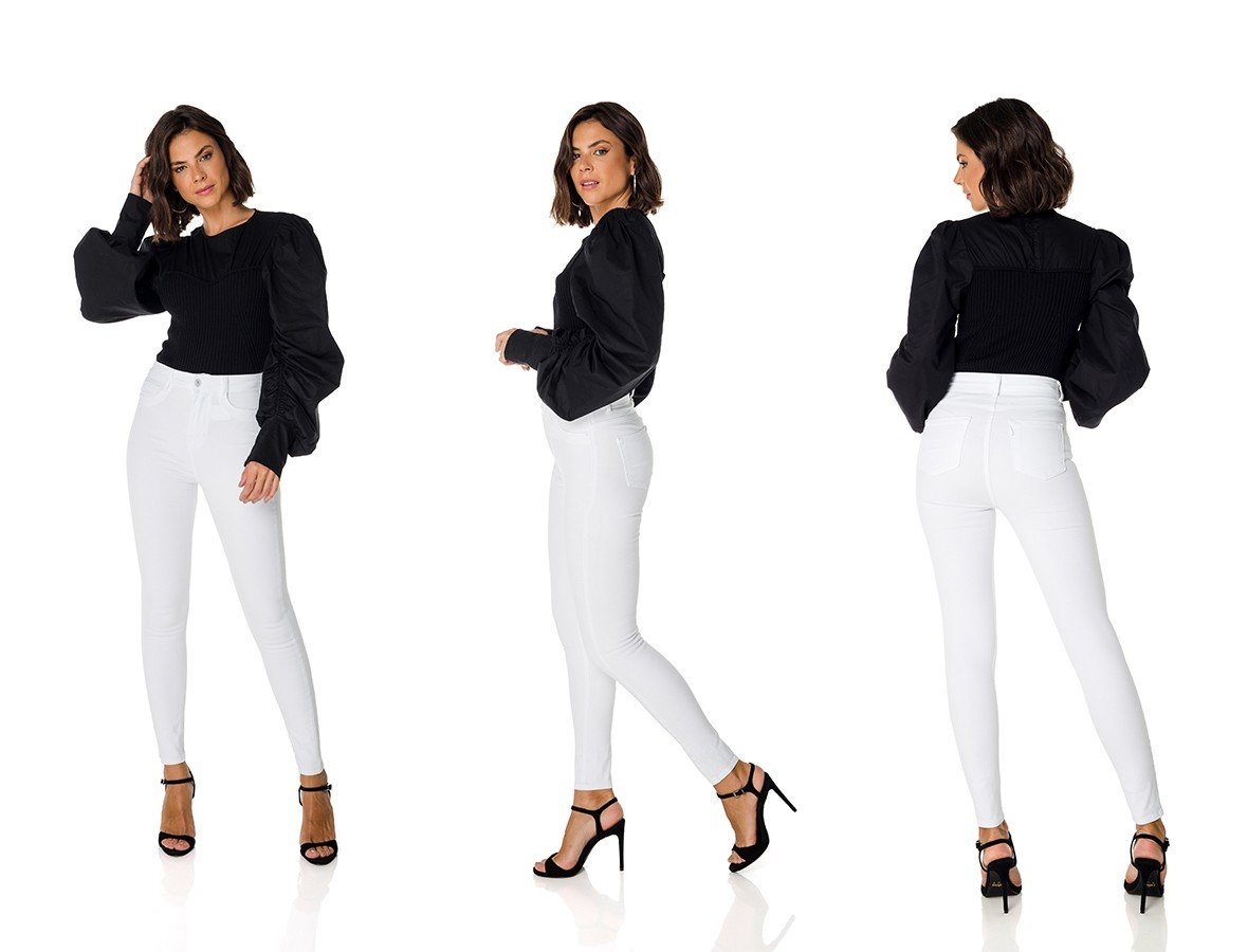 dz3714 re calca jeans feminina skinny hot pants black and white branca denim zero trio