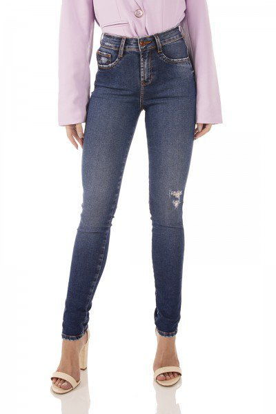 dz3720 re calca jeans feminina skinny media fenda lateral denim zero frente prox