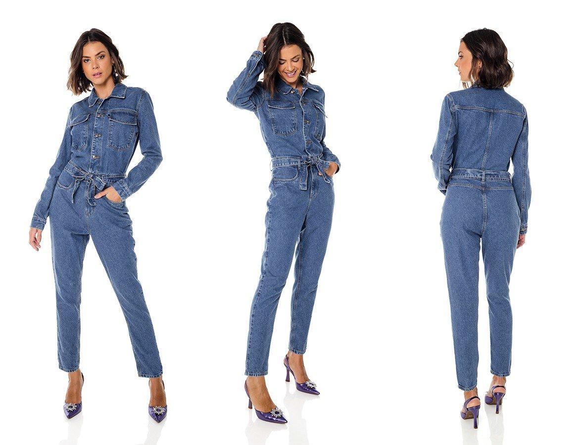 dz8050 alg macacao jeans feminino manga longa denim zero trio
