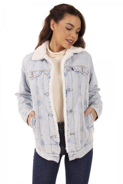 dz9136 alg jaqueta jeans feminina regular alongada de pelos denim zero frente