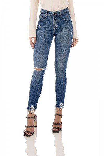 dz3506 re calca jeans feminina skinny media cigarrete com puidos denim zero frente prox