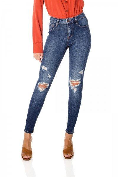 dz3681 com calca jeans feminina skinny media com puidos denim zero frente prox