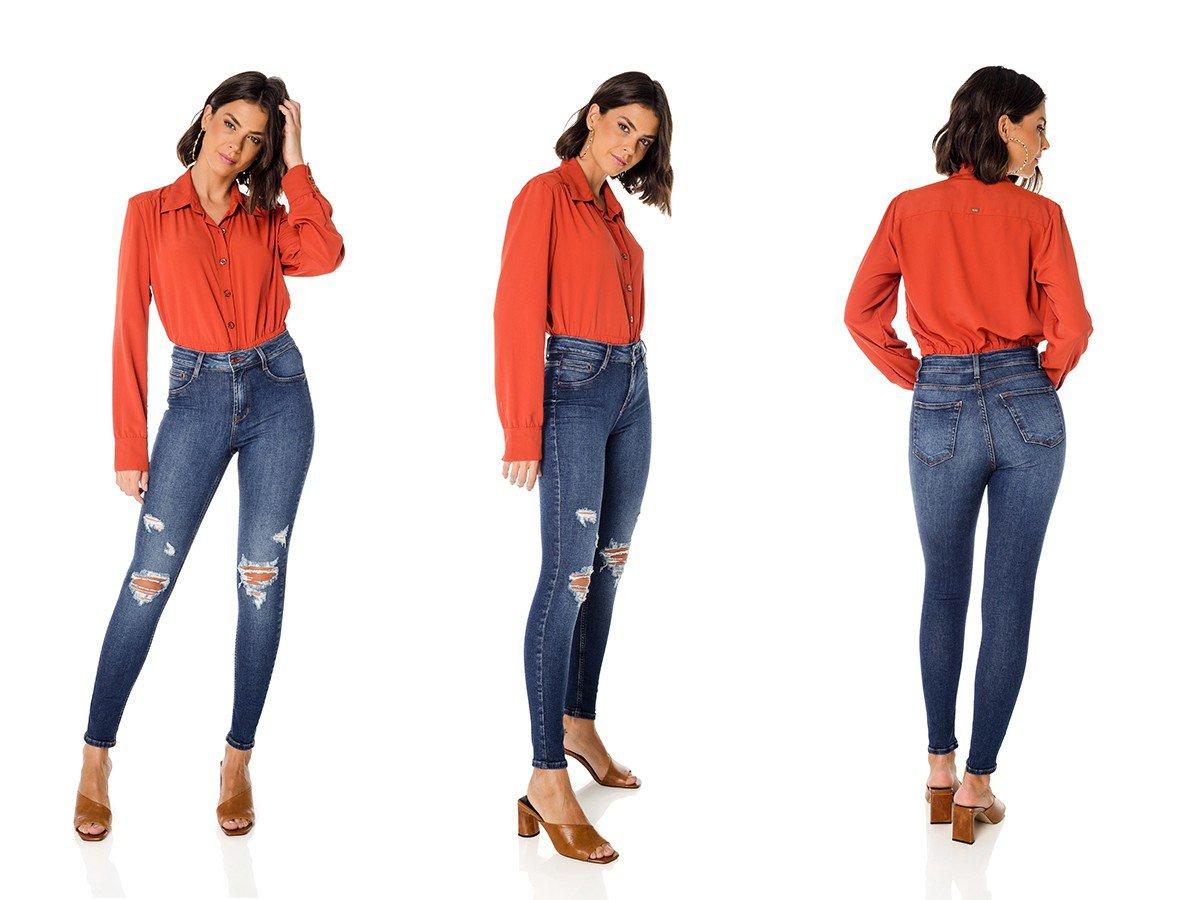 dz3681 com calca jeans feminina skinny media com puidos denim zero trio
