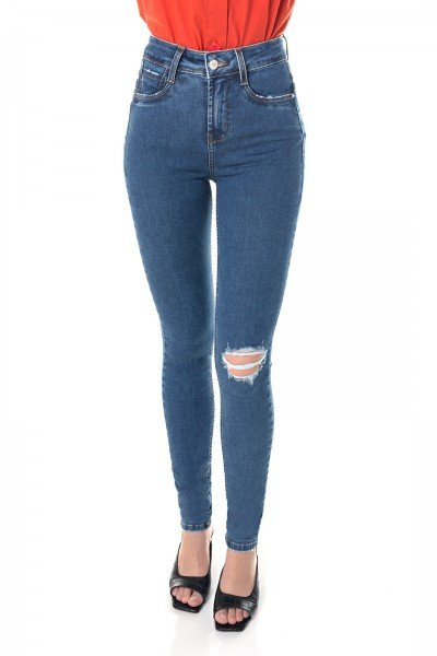 dz3645 re calca jeans feminina skinny media com rasgo no joelho denim zero frente prox