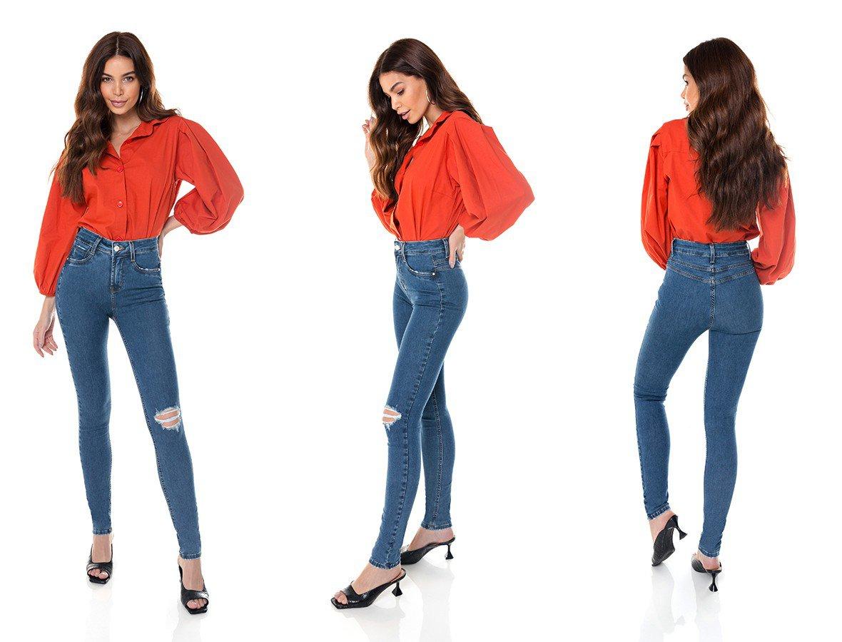 dz3645 re calca jeans feminina skinny media com rasgo no joelho denim zero tripla