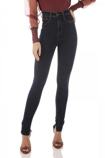 dz3733 com calca jeans feminina skinny hot pants fenda lateral denim zero frnte prox