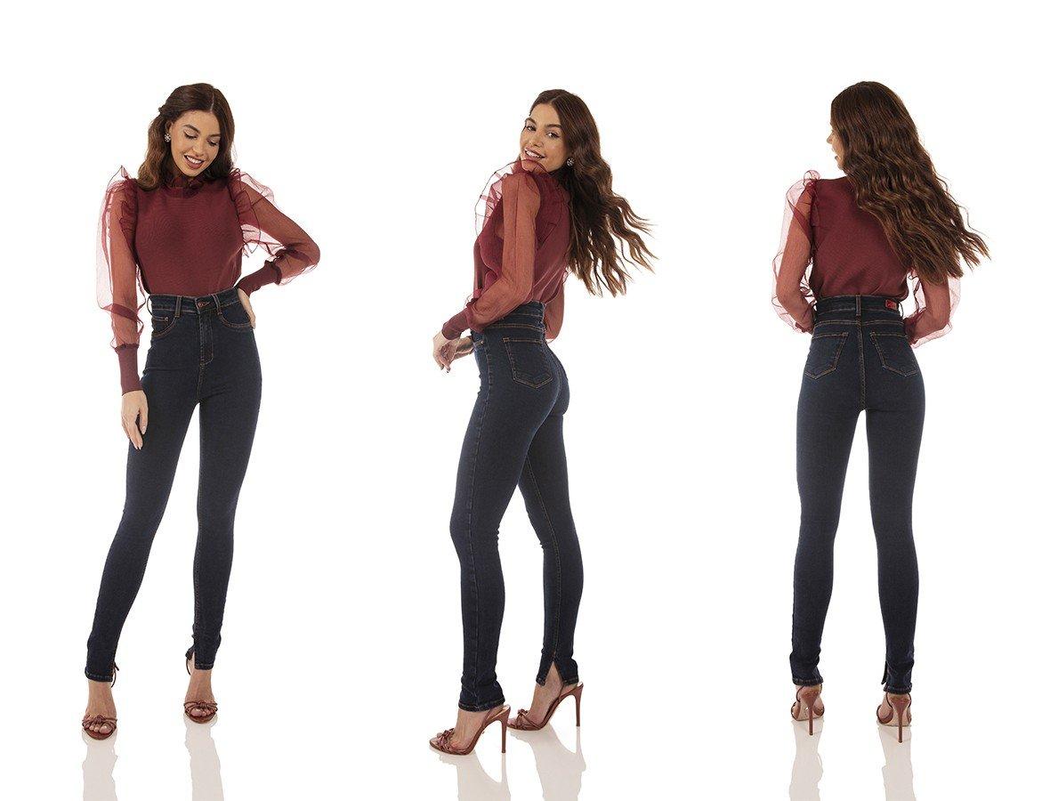 dz3733 com calca jeans feminina skinny hot pants fenda lateral denim zero tripla