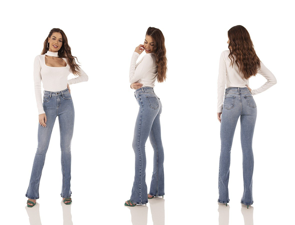 dz3742 re calca jeans feminina boot cut media tradicional denim zero tripla