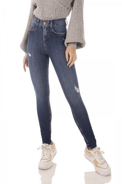 dz3752 ts calca jeans feminina skinny media cigarrete com puidos denim zero frente prox