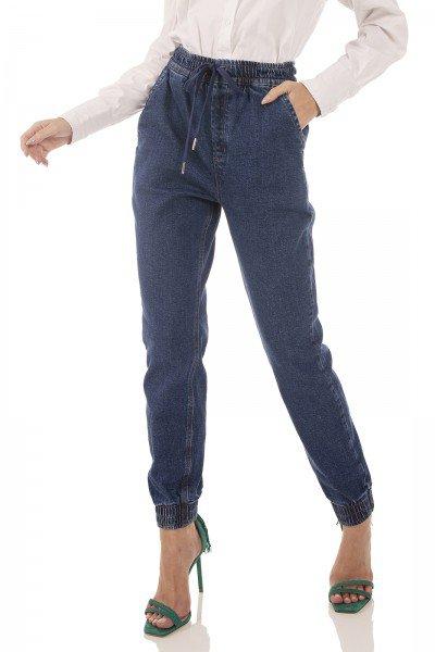 dz3737 com calca jeans feminina jogger com cordao funcional denim zero frente prox
