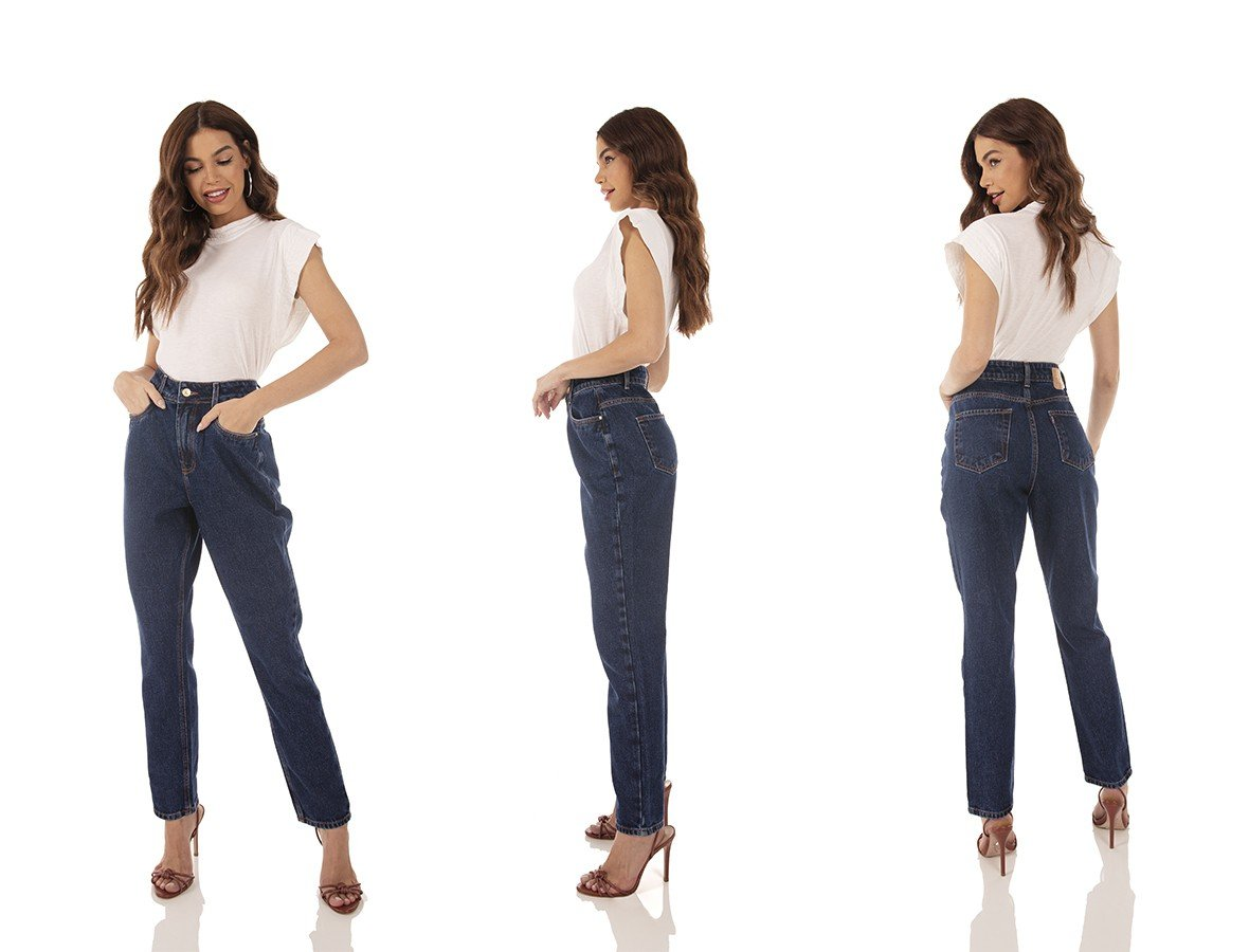 dz3740 alg calca jeans feminina mom escura denim zero tripla