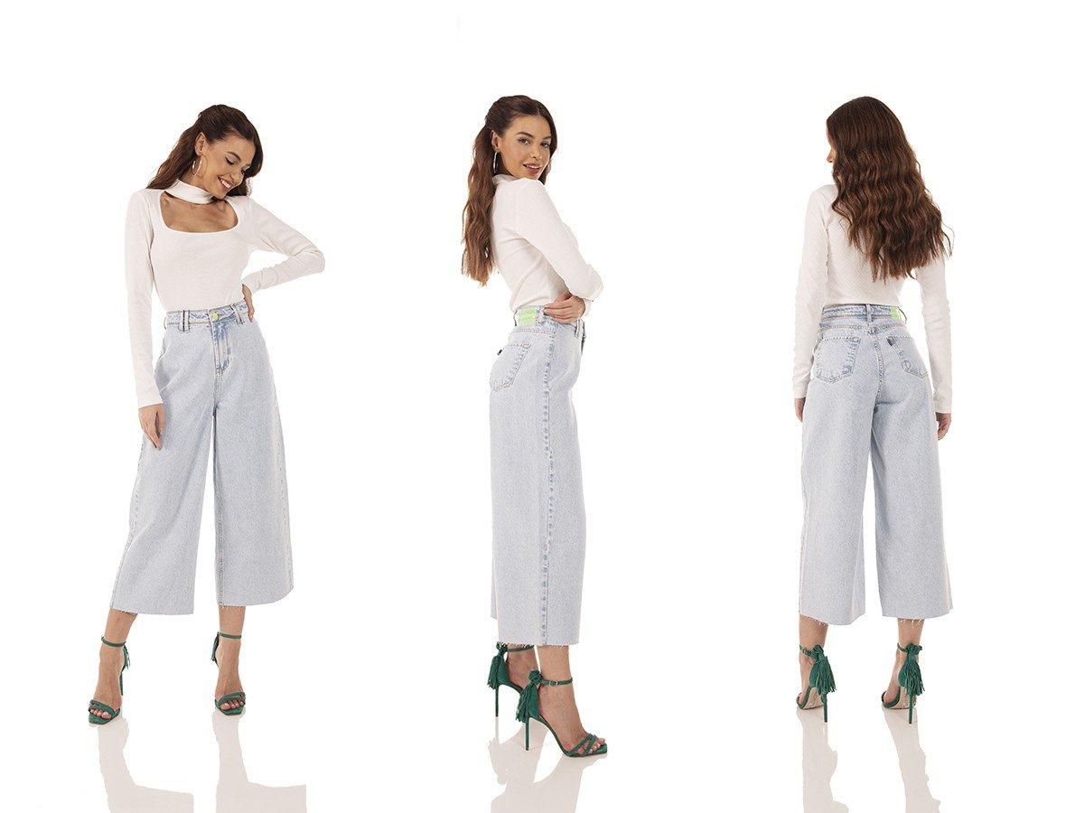 dz3745 alg calca jeans feminina pantacourt hot pants barra corte a fio denim zero tripla