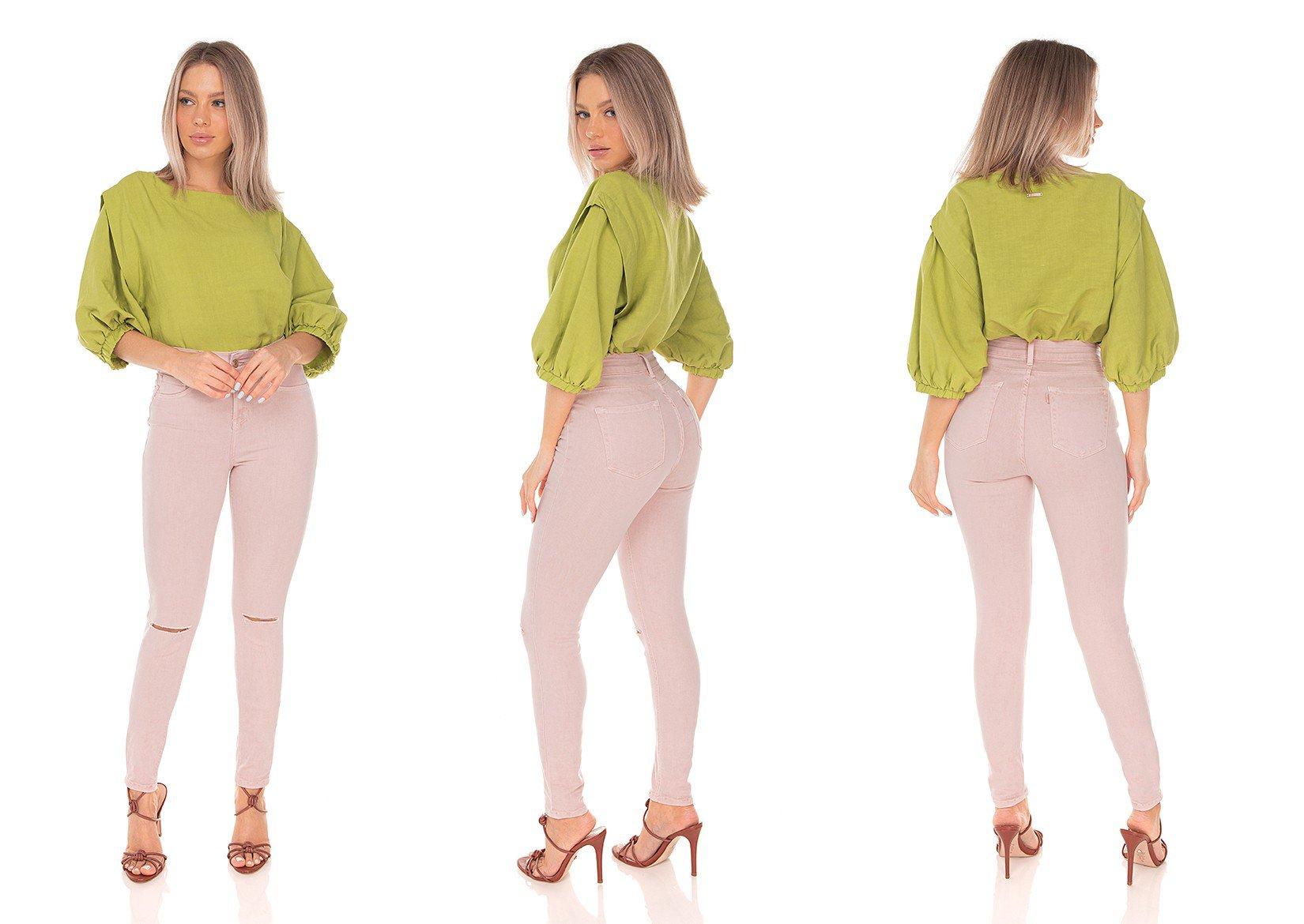 dz3624 calca jeans feminina skinny media rasgo no joelho colorida old roset denim zero tripla