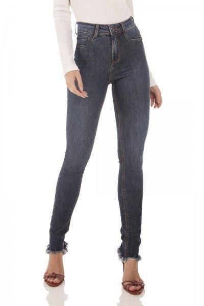 dz3721 re calca jeans feminina skinny media barra desfiada denim zero frente prox