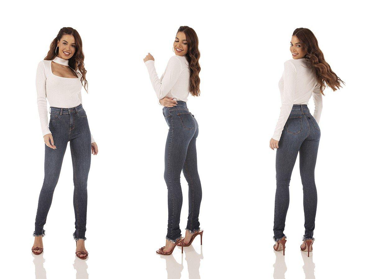 dz3721 re calca jeans feminina skinny media barra desfiada denim zero tripla